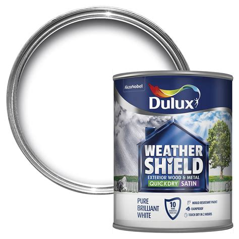 dulux weathershield exterior pure brilliant white satin