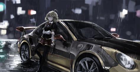 anime anime girls car porsche hashiri nio akuma