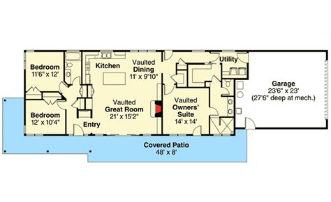 narrow lot  bed ranch home plan da architectural designs house plans