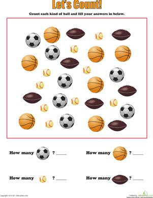 learning to count sports balls worksheet education 634 | learning count sports balls counting