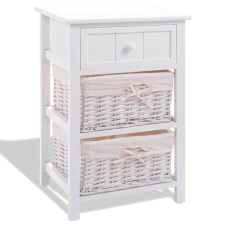 Nightstand With Baskets white nightstand end table with 2 baskets walmart
