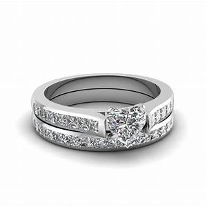 heart shaped diamond wedding ring sets with white diamond With heart wedding ring sets