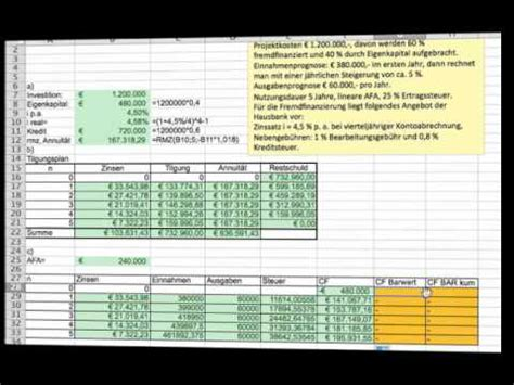 investitionsrechnung advanced mit excel youtube