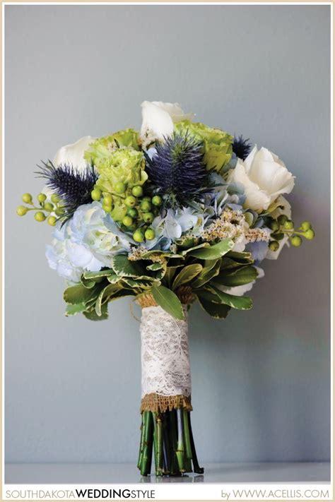 wedding bouquet handle idea lace blue thistle rose