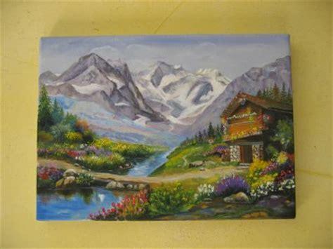 comment peindre a l acrylique sur toile paysage de montagne peint 224 l acrylique sur toile peinture