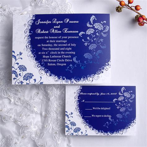Royal Blue Wedding Invitations Template