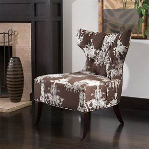 Chandelier Print Fabric Brown White Accent Chair