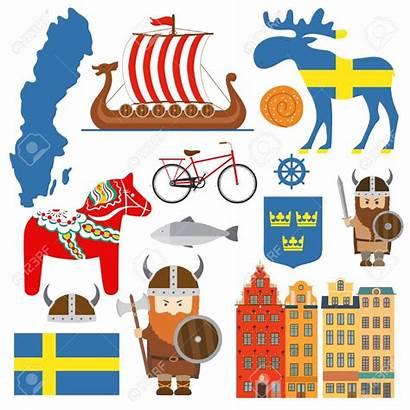 Sweden Symbols Elements Map Illustration Vector Swedish