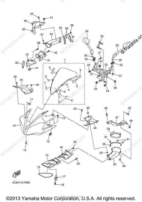 yamaha motorcycle 2008 oem parts diagram for cowling 1 partzilla com