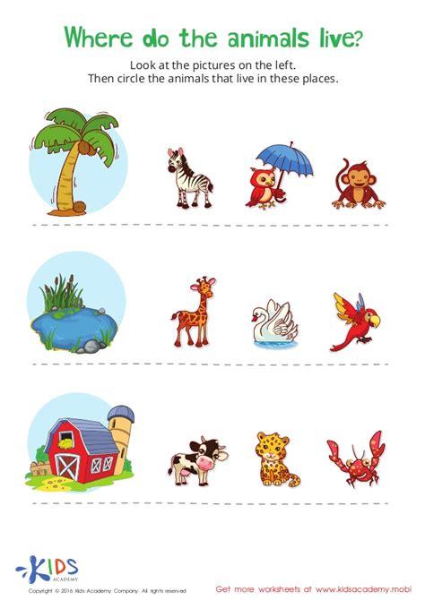 where do the animals live printable worksheet