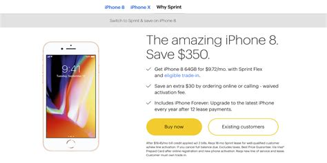 sprint offers new iphone 8 8 plus deals starting at 0 9 72 month