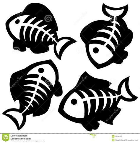 fishbones silhouettes stock vector illustration