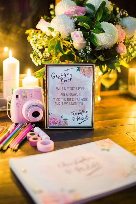 top  polaroid wedding guest books roses rings
