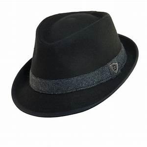 Mens Wool Blend Fedora Hat with Herringbone Band by ...