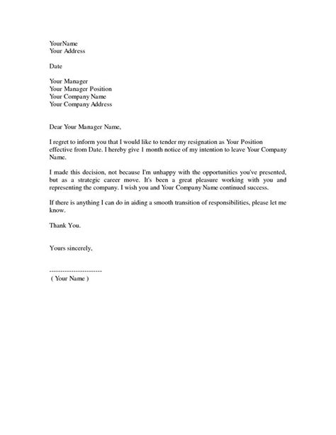 simple resignation letter 1 month notice as sample letter of resignation form… | resignation