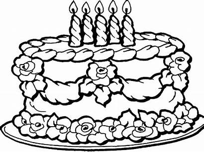 Cake Birthday Coloring Pages Flowers Decorating Netart