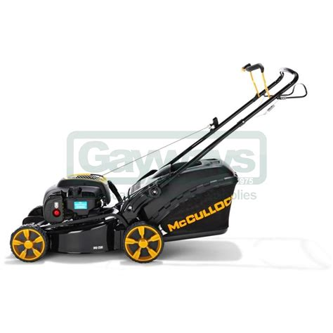mcculloch m46 125 m46 125 petrol push four wheeled lawnmower from gayways uk