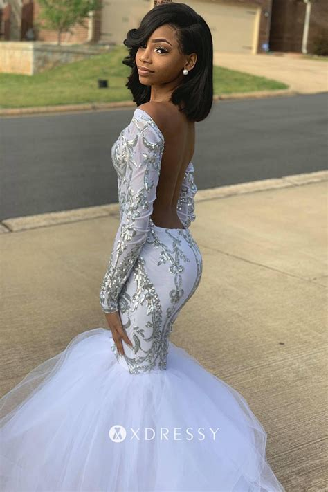 silver sequin  tulle mermaid backless prom gown xdressy