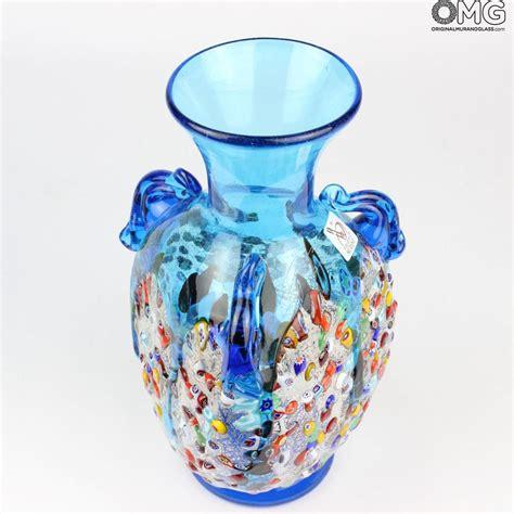light blue vase anfora light blue vase murano glass millefiori