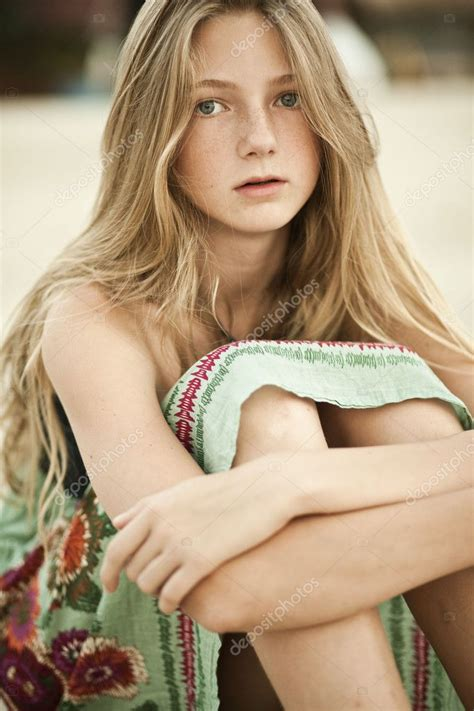 portrait   girl teen  freckles stock photo