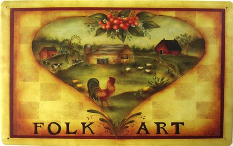 Rustic Vintage Folk Art Rooster Country Home Farm