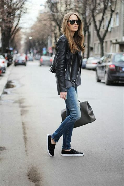 leather jacket jeans sneakers outfit inspiration fashion style outfits