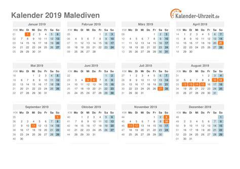 feiertage malediven kalender uebersicht