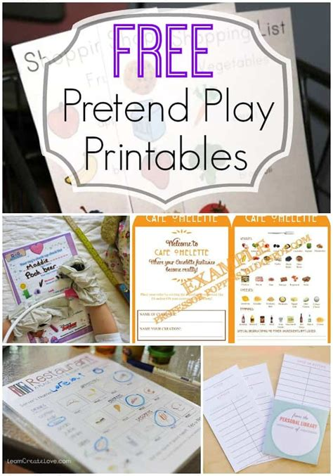 pretend play ideas   printables