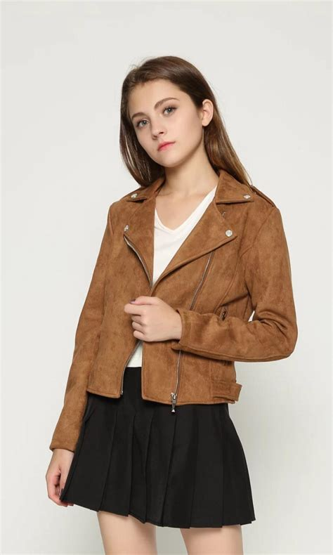 fashion women suede motorcycle jacket slim brown full lined soft faux leather female coat