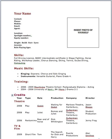 Acting Resume Template Free by Acting Resume Template No Experience Http Www