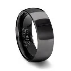 mens black wedding rings polished black tungsten wedding band mens black wedding ring