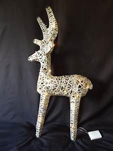 Large, Pre, Lit, Christmas, Reindeer, Decoration, Rustic, Rattan, Led, Lights, Indoor
