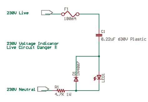 Mains Voltage Indicator With Led Delabs Schematics