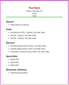 Chronological Resume Builder by Basic Resume Templates Resume Templates