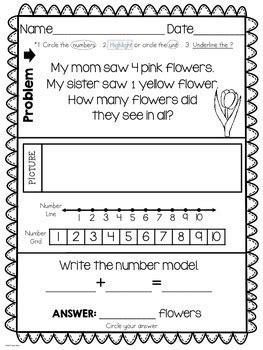 addition word problems  kindergarten  kims creations