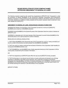 board resolution approving amendment to general by laws With corporate board resolution template