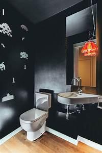 Moderne Gstetoilette Mit Schwarzer Wandfarbe Und