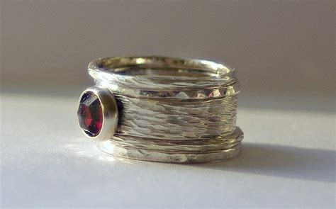 unique rustic earthy stacking renaissance wedding engagement rings sterling silver and garnet