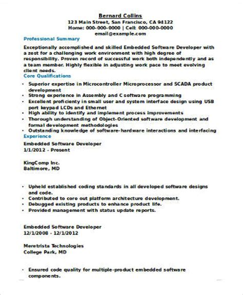 Embedded Systems Manager Resume by Sle Software Developer Resume 9 Exles In Word Pdf