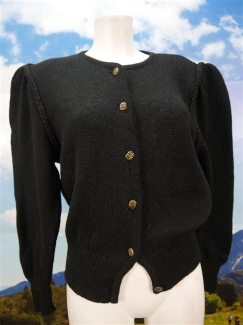 mit hosenträgern damen gern getragen mit puff 228 rmel strickjacke schlicht schwarz dirndljacke jacke gr 46 trachtenecke
