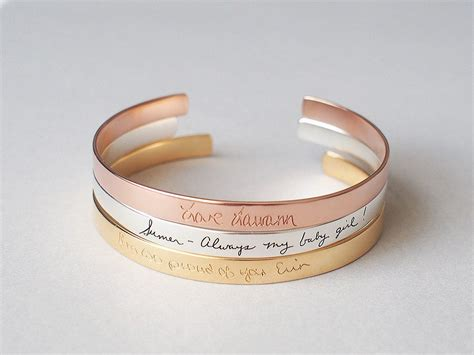 personalized cuff bracelet handwriting cuff bracelet