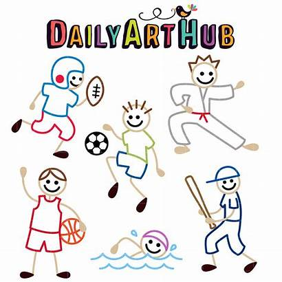 Stick Clip Sports Figures Sporty Clipart Cartoons