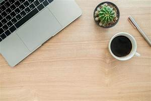 Top, View, Office, Desk, With, Laptop, Plant, Coffee, Cup, Copy, Space, On, Wooden, Background, Stock, Photo