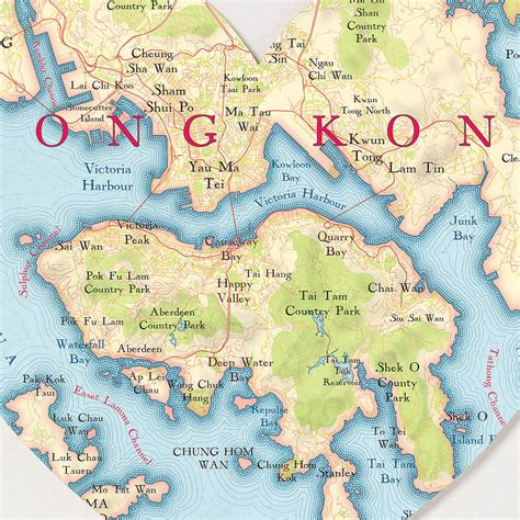 hong kong map heart print  bombus   peg