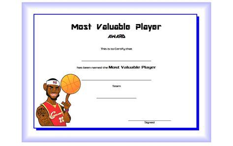 basketball mvp certificate editable templates