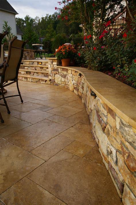travertine cap  seat wall patios   backyard