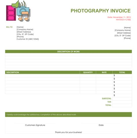 photography invoice templates   quick invoices