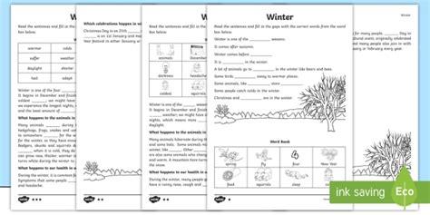 ks1 winter cloze procedure differentiated worksheet activity