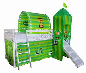 FoxHunter Children Wooden Mid Sleeper Cabin Bunk Bed Tent ...