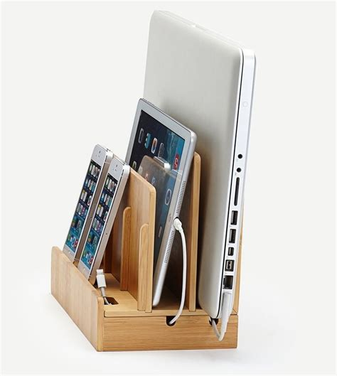 desk l with charging station bamboo multi device charging station and dock with